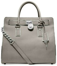 MICHAEL KORS HAMILTON SPECCHIO LARGE PEARL GREY SILVER NS TOTE BAG NWT - $338.08