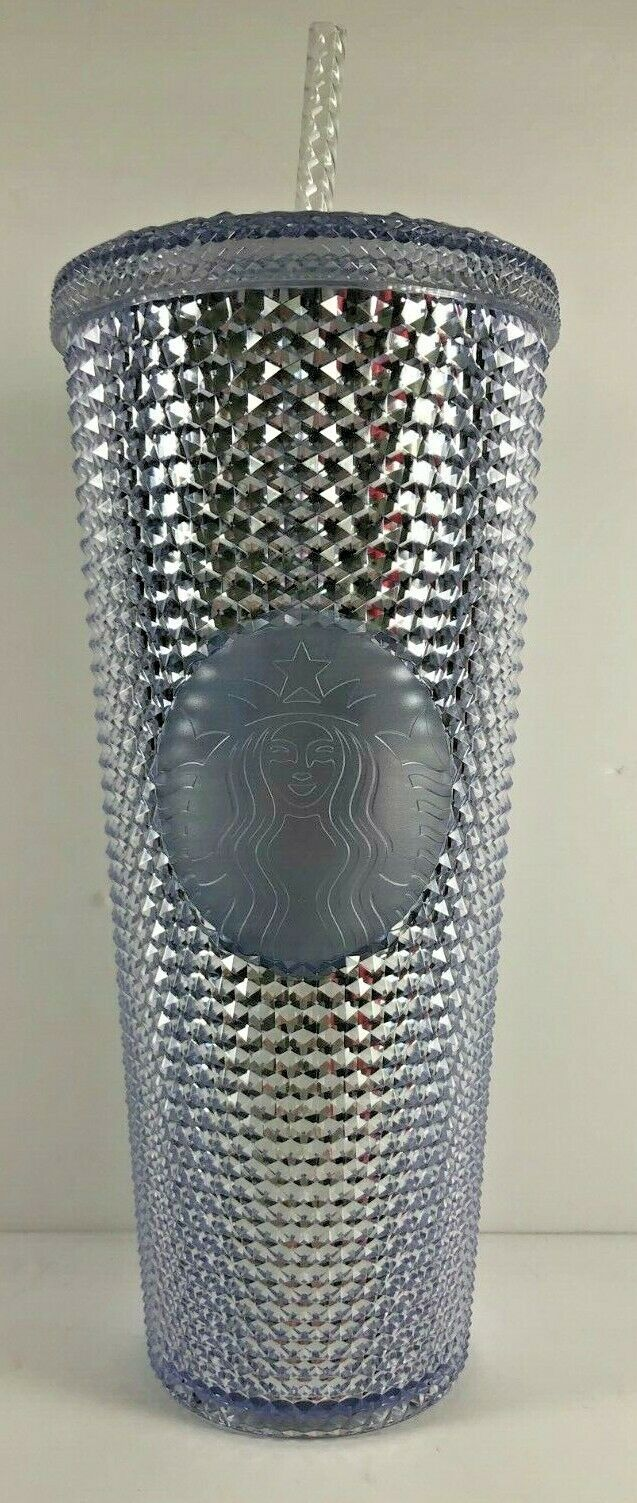 NEW Starbucks Holiday 2019 Venti 24 oz Platinum Silver Studded Cold Cup Tumbler