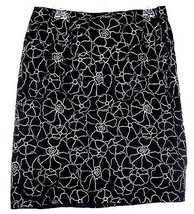 Apostrophe Black Stretch Skirt with White Flowers Sz 14 - $9.49