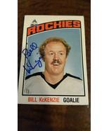 1976-77 OPC SIGNED CARD BILL MCKENZIE ROCKIES SCOUTS RED WINGS ENGLAND U... - $36.99