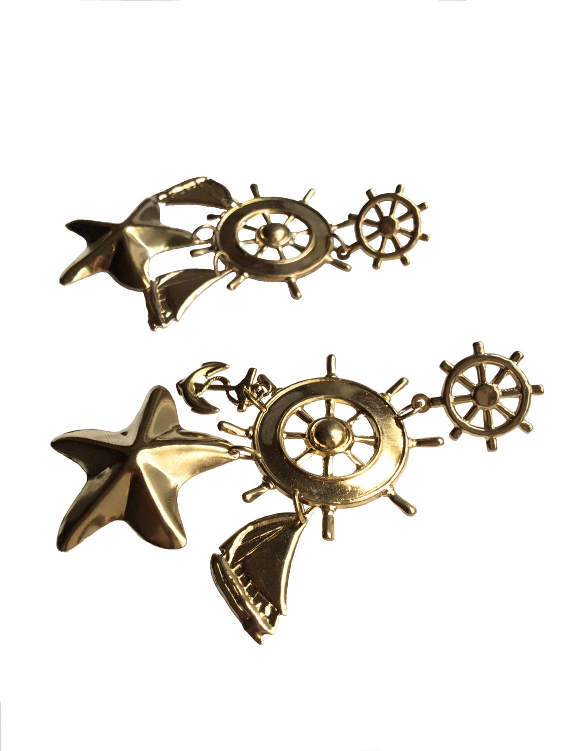 80s Huge Statement Gold Plated Nautical Sailboat Ship Wheel Anchor Starfish Pier