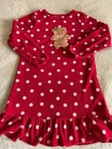 Carters Girls Red White Polka Dot Gingerbread Fleece Long Sleeve Nightgo... - $8.33