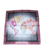 """Louis Vuitton Écharpe World map 86 CM Monogramme Soie 34"""" Inch Gris Viol... - $528.98"""