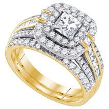 14k Yellow Gold Princess Diamond Double Halo Bridal Wedding Engagement R... - £4,560.92 GBP