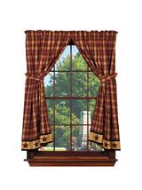 country primitive farmhouse Heritage Star Wine plaid Panel curtains 72x63 - $79.95