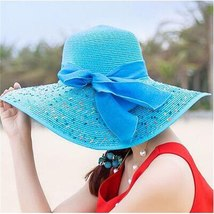Women Colorful Big Brim Straw Bow Hat Sun Floppy Wide Brim Hats Beach Cap Colorf image 2