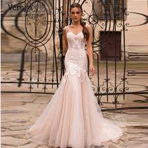 Verngo Light Champagne Mermaid Wedding Dress With Detachable Train 2 in 1 Weddin