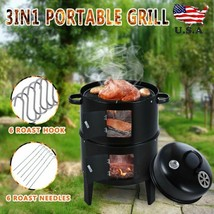 Vertical Charcoal Water Smoker Heavy Duty  BBQ Grill for Outdoor Cooking... - $58.99