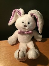 1983 Dakin white bunny rabbit with purple Gingham Feet  Gingham Ears & B... - $40.00
