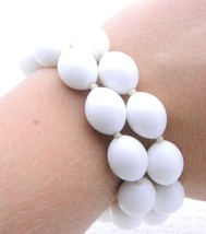 VTG CROWN TRIFARI Signed Gold Tone White Plasctic Bead Two Strand Bracelet - $39.60