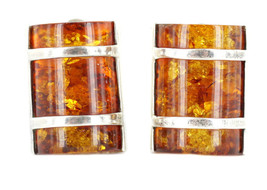Vintage Sterling  Modernist Spangle Barrel Baltic Cognac Amber Clip Earr... - $67.49