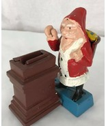 Vintage Cast iron metal figural Christmas Santa Claus coin penny Bank Ta... - $26.90