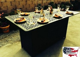 Unique Dining Table Gas Fire Pit Patio Propane Bar Metal Outdoor Furniture  - $3,629.25