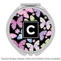 Flower Printed Butterflies : Gift Compact Mirror Pattern Daisies Diy Fri... - $12.99+