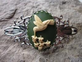 CREAM ON GREEN HUMMINGBIRD CAMEO SILVER FILIGREE BARRETTE - BRIDAL -WEDDING - $22.05
