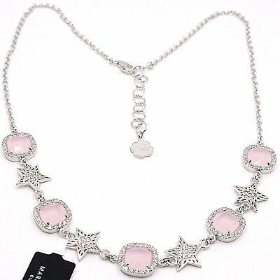 Necklace Silver 925, Stars and Squares, Pink Quartz, Zircon by Maria Ielpo