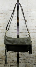Lucky Brand Del Ray Fold-Over Olive Leather Cross-Body Bag