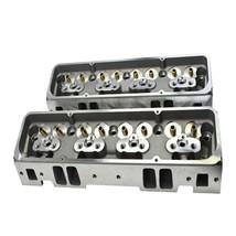 SBC Small Block Chevy GM Straight Plug Aluminum Cylinder Head Set 64cc 2.02/1.60 image 2