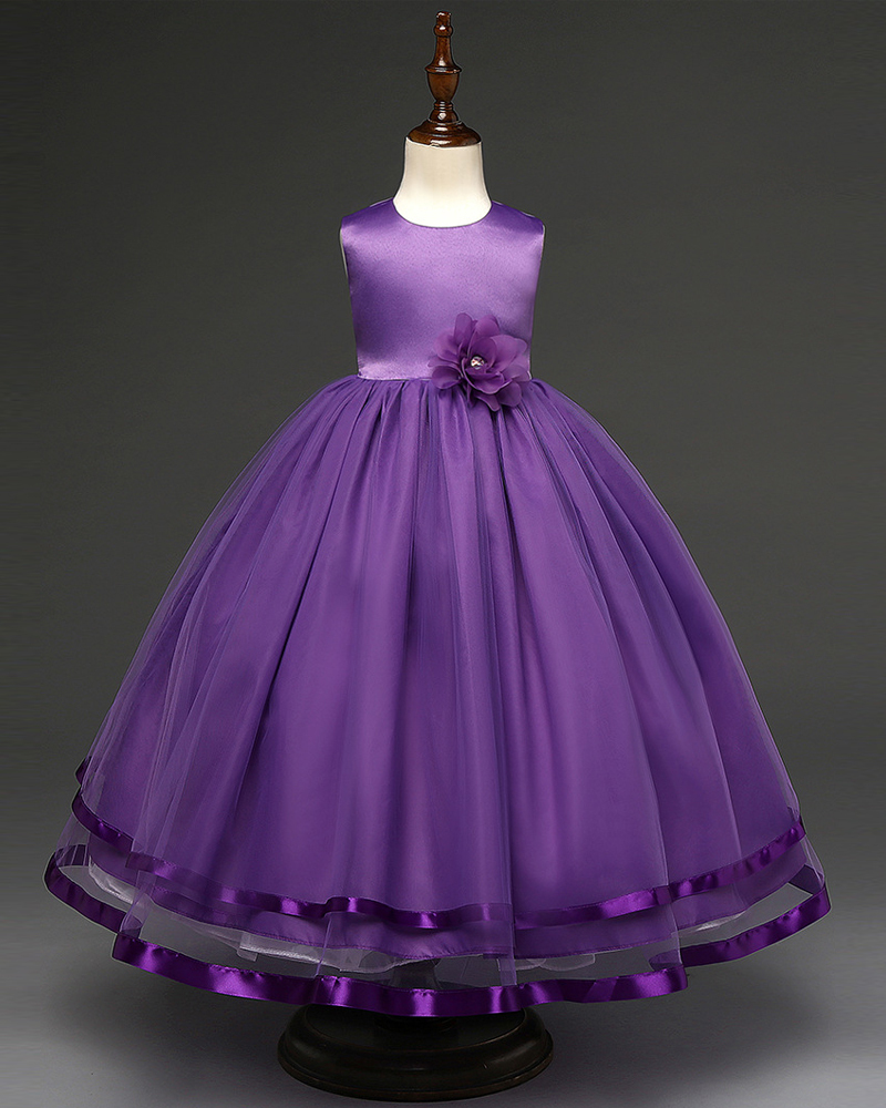 Purple Bady Dress Bow  Flower Girls Dresses Pricess Bridesmaid Summer Gown