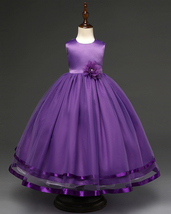 Purple Bady Dress Bow  Flower Girls Dresses Pricess Bridesmaid Summer Gown  - £22.02 GBP