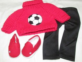 """18"""" doll clothes hand made outfit red soccer ball sweater shoes leggings... - $12.86"""