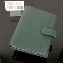 MPRS Auth Louis Vuitton Green Taiga Agenda MM Day Planner Cover GOOD #8F020 - $197.01