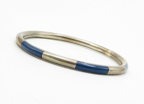 925 Sterling Silver - Vintage Lapis Lazuli Inlay Pattern Bangle Bracelet - B6264 image 4