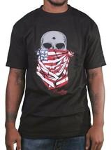 Deadline Mens Black American Flag Bandana Skull Bullet Hole T-Shirt USA NWT