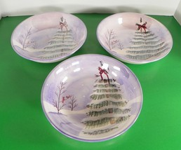 Jay Import Christmas Soup Pasta Bowl (s) LOT OF 3 Snowy Pine Tree Cardin... - $37.57