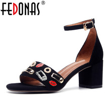 Fashion Suede FEDONAS Women High Summer New 2018 Party Shoes Sexy Heels Buckle nRRqxzHwI