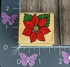 Stampcraft Rubber Stamp Poinsettia Winter Christmas Flower #G140 - $2.72