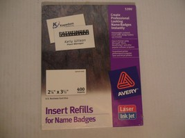 "Avery Name Badge Insert Refills, 2-1/4"" x 3-1/2"", Box of 400 (5390) - $16.72"