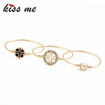 New Design Exquisite Round Flower Pattern Simulated Pearl Bracelet Set K... - $15.29