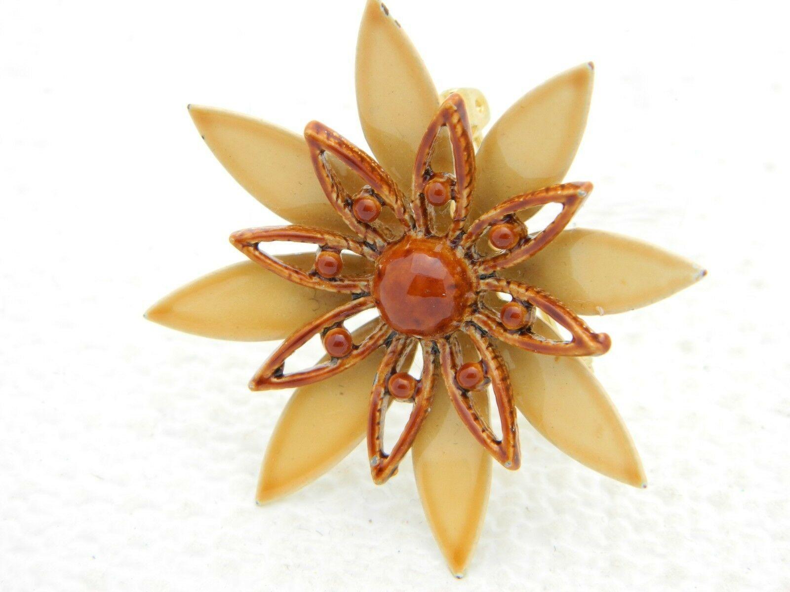 Vintage Brown Tan Enamel Enameled Flower Brooch Pin - $19.80