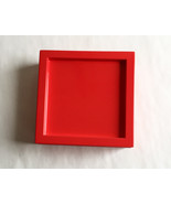 Jewelry Box Neon Red Finish hinged vinyl lined personalize 5.25 x 5.25 x... - $9.70