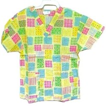 Scrub Top Jaylyn Uniforms Medium Pastel Yellow Green Pink Blue Cotton Bl... - $14.52