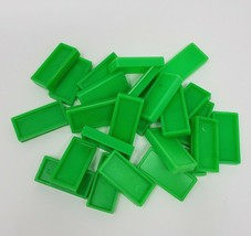 25 VINTAGE NEON GREEN PRESSMAN DOMINO RALLY DOMINOES REFILL PIECES FOR S... - $8.20