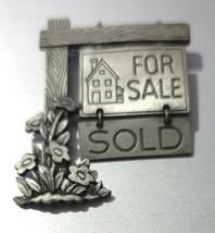 Vintage JJ Pewter Brooch Realtor For Sale Sold Sign - $16.79