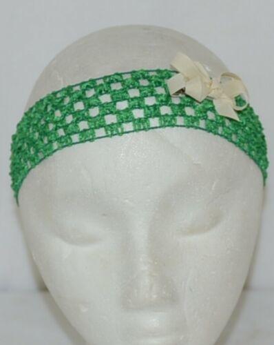 Unbranded Girl Infant Toddler Headband Removable Hair Bow Green Cream
