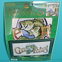 "Nature's Window Gone Fishing Large Mouth Bass Fish 8"" x 18"" Cross Stitch... - $9.95"