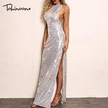 Tobinoone Sequin Maxi Dress Women Sexy High Split Long Dress 2018 Solid ... - $46.78