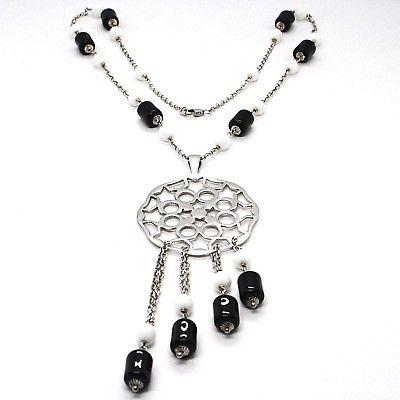 Silver necklace 925, Onyx Black Tube, Locket Stars and Circles Pendant