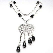 Silver necklace 925, Onyx Black Tube, Locket Stars and Circles Pendant image 1