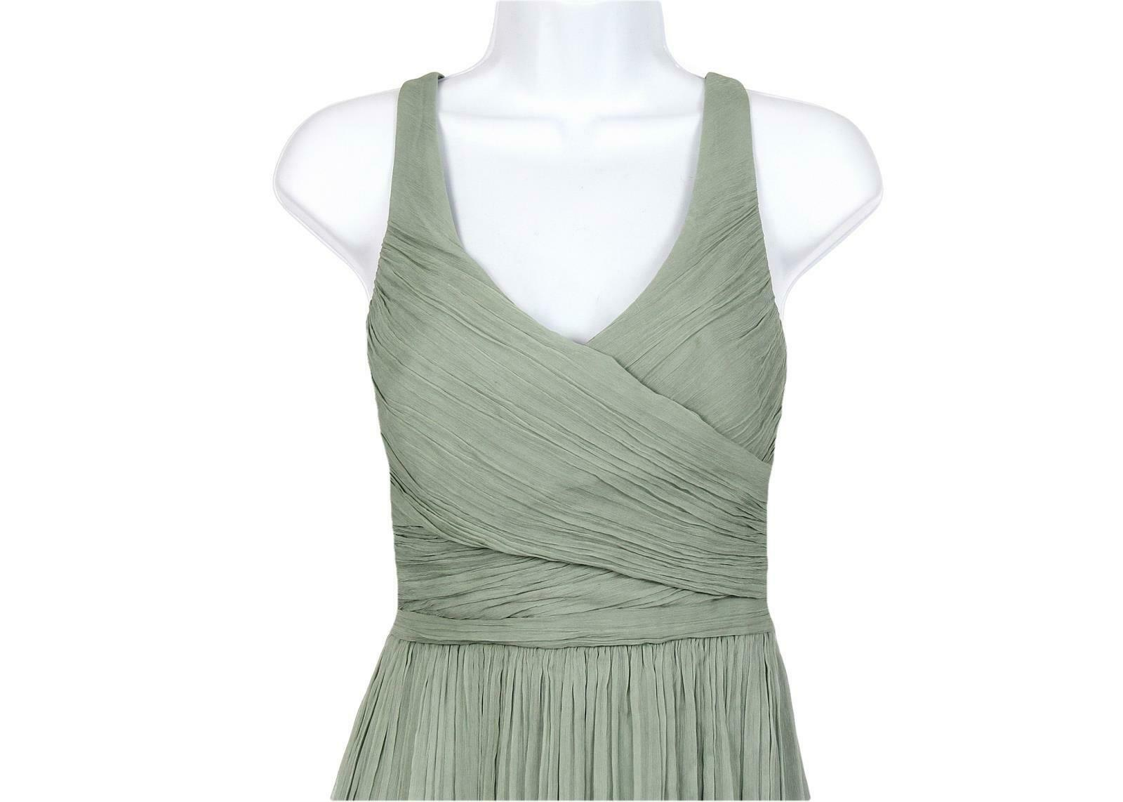 J Crew Women's Heidi Long Dress in Silk Chiffon Dusty Shale Sz 6 93075 image 3
