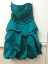 Womens David's Bridal Green Strapless Short Formal Dress Style 84091 Size 2 - $27.95