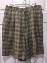 Liz Claiborne Linen Rayon Blend Lined Tan Plaid Golf Walking Shorts Size 14 - $18.65