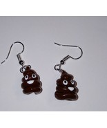 Cute Poop Emoji Charm Earrings Silver Wire Clay Kids Fun Charms Emoticon - $6.00
