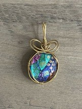 Gold Wire Wrapped Round Dichroic Glass Pendant Necklace Charm Pink Teal ... - $23.36