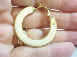 Goldette Beige Hoop Pierced Earrings Cream Gold Plate Vintage Estate Career - $13.81