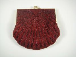Andre Cellini Handbag Evening Bag Clutch Red Bead Purse Womens Clam Shell  - $19.79